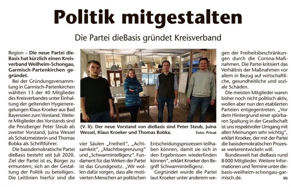 Gründung Kreisverband dieBasis in Weilheim Garmisch